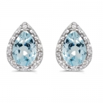 Pear Aquamarine and Diamond Stud Earrings 14k White Gold