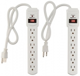 AmazonBasics 6-Outlet Surge Protector Power Strip 2-Pack