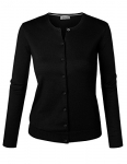 Women's Round Neck Button Down Soft Classic Knit Cardigan