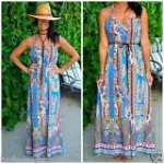 V-Neck Belt Printed Polyester Maxi Dress