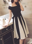Bowknot Decorated Cap Sleeve Cutout Design Dress