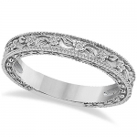Carved Floral Designed Wedding Band Anniversary Ring