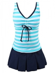 Chrysea Big Girls Striped Swimsuit Pleated Skirt Swimwear