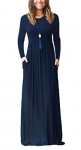 DEARCASE Women Long Sleeve Loose Plain Maxi Dresses