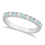 Diamond & Aquamarine Ring Guard Anniversary Band 14k White Gold