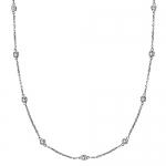 Diamond Station Necklace Bezel-Set in 14k White Gold