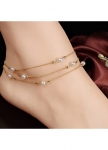 Faux Pearl Embellished Gold Metal Layered Anklet