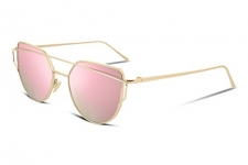 FEISEDY Cat Eye Fashion Mirrored Flat Lenses Women Sunglasses