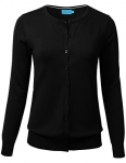 FLORIA Women Button Down Crew Neck Long Sleeve Soft Knit Cardigan Sweater