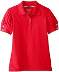 French Toast Girls' Puff Sleeve Double Button Polo