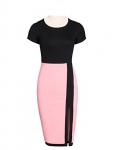 Awesome Chic Round Neck Slit Color Block Bodycon Dress