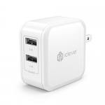 iClever BoostCube 4.8A 24W Dual USB Travel Wall Charger with SmartID Technology