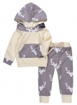 Imsmart Newborn 2PCs Baby Long Sleeve Hoodie Outfit Sets