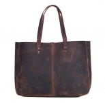 KomalC Genuine Soft Black Buffalo Leather Tote Bag