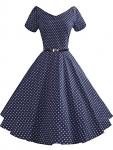 LUOUSE Vintage Short Sleeve V-Neck Swing Dress