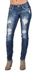 Machine Fashion Rhinestoned Skinny Denim Jeans Ripped Stone Washed