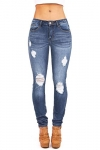 Machine Women's Juniors Low Rise Distressed Skinny Jeans