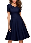 Women's Retro Short Sleeve Cocktail Party Swing Dress
