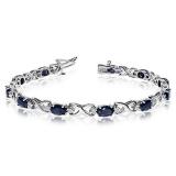 Oval Sapphire & Diamond XOXO Link Bracelet 14k Gold