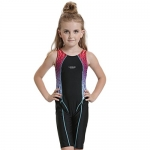 Peacoco Girls' Solid Splice Athletic One-Piece Swimsuits