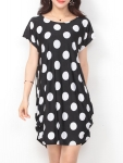 Simple Round Neck Polka Dot Shift Dress