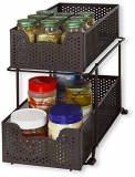 SimpleHouseware Stackable 2 Tier Sliding Basket Organizer Drawer