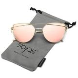 SojoS Cat Eye Mirrored Flat Lenses Women Sunglasses