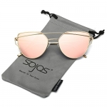 SojoS Cat Eye Mirrored Flat Lenses Women Sunglasses