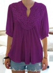 Solid Purple Split Neck Half Sleeve Blouse