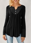 Curved Lace Panel Blouse, Button Up Shirt