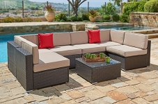 Suncrown Outdoor Furniture Sectional Sofa Set (7-Piece Set) All-Weather