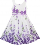 Sunny Fashion Girls Dress Double Bow Tie Party Sundress