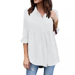 Women's Shirt Dress Long Sleeve Loose Button Down Swing Dress
